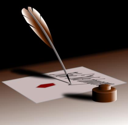 手紙と羽ペン