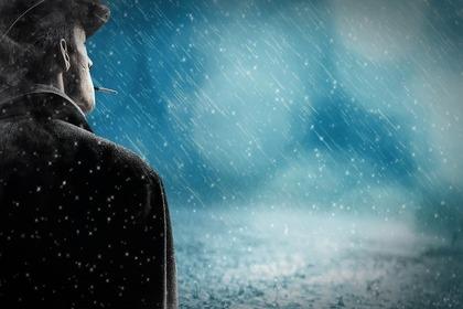 にわか雨と男性