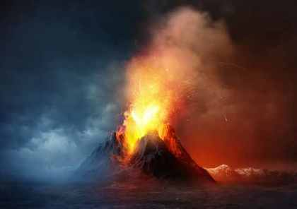 燃え盛る山
