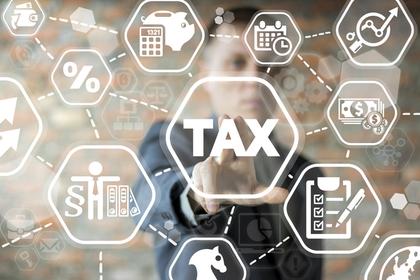税金を意味する単語と関連する事項がイラストで描かれた画像