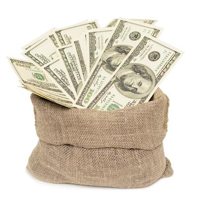 袋に入った紙幣