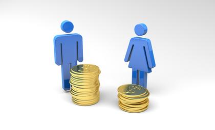 男女のピクトグラムと積み上げられたコイン