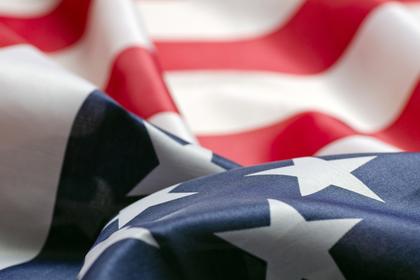 アメリカ国旗の風景