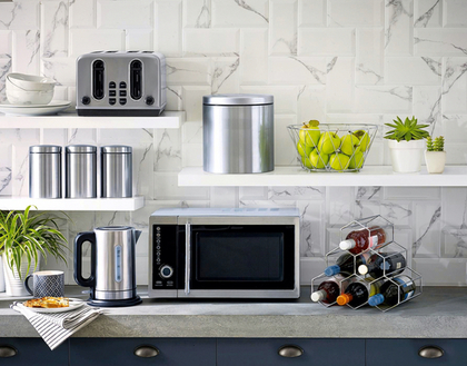 綺麗に統一されたキッチン家電
