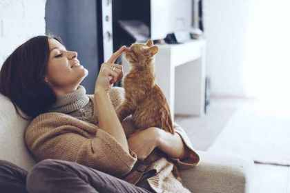 猫と戯れる女性